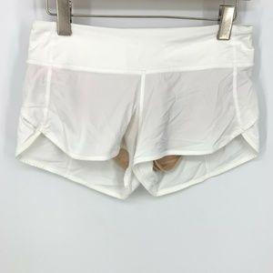 Lululemon Athletica Solid White Speed Shorts